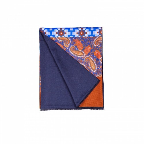 Sciarpa da uomo in Patchwork 50% lana e 50% seta colori Blue navy, blue china, marrone bruciato